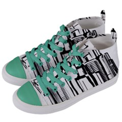 Black And White City Women s Mid Top Canvas Sneakers by digitaldivadesigns