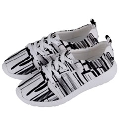 Black And White City Women s Lightweight Sports Shoes by digitaldivadesigns