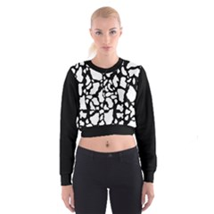 White On Black Cow Skin Cropped Sweatshirt by LoolyElzayat