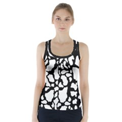 White On Black Cow Skin Racer Back Sports Top by LoolyElzayat