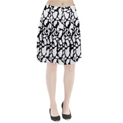 Black White Cow Print Pleated Skirt