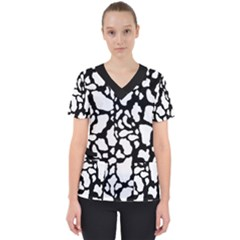 Black White Cow Print Scrub Top