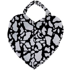 Black White Cow Print Giant Heart Shaped Tote by LoolyElzayat