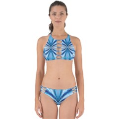 Abstract Blue Perfectly Cut Out Bikini Set