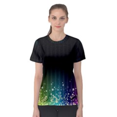 Colorful Space Rainbow Stars Women s Sport Mesh Tee