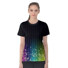Colorful Space Rainbow Stars Women s Cotton Tee