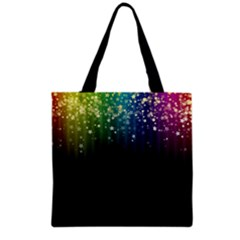 Colorful Space Rainbow Stars Grocery Tote Bag