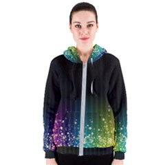 Colorful Space Rainbow Stars Women s Zipper Hoodie