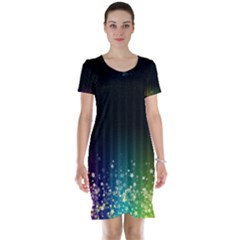 Colorful Space Rainbow Stars Short Sleeve Nightdress