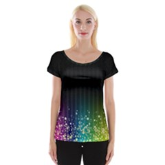 Colorful Space Rainbow Stars Cap Sleeve Tops