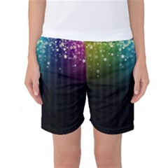 Colorful Space Rainbow Stars Women s Basketball Shorts