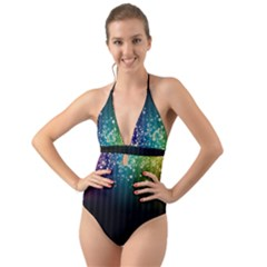 Colorful Space Rainbow Stars Halter Cut-out One Piece Swimsuit