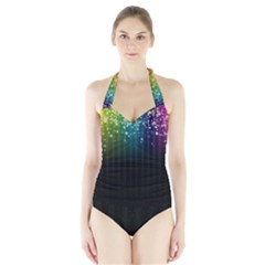 Colorful Space Rainbow Stars Halter Swimsuit