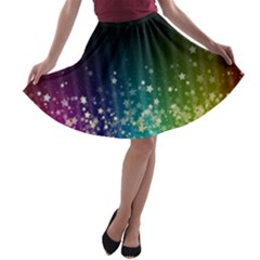 Colorful Space Rainbow Stars A-line Skater Skirt