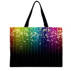 Colorful Space Rainbow Stars Zipper Large Tote Bag