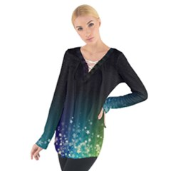 Colorful Space Rainbow Stars Tie Up Tee