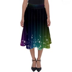Colorful Space Rainbow Stars Perfect Length Midi Skirt