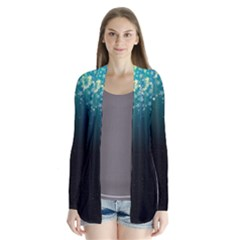 Colorful Space Rainbow Stars Drape Collar Cardigan