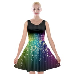 Colorful Space Rainbow Stars Velvet Skater Dress