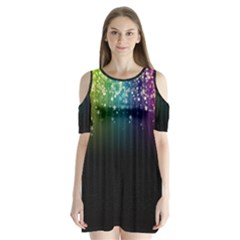 Colorful Space Rainbow Stars Shoulder Cutout Velvet One Piece