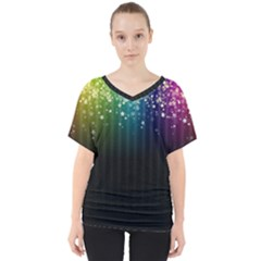Colorful Space Rainbow Stars V-neck Dolman Drape Top