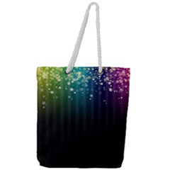Colorful Space Rainbow Stars Full Print Rope Handle Tote (large)