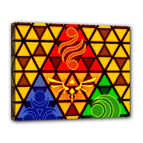 The Triforce Stained Glass Canvas 14  X 11