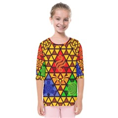 The Triforce Stained Glass Kids  Quarter Sleeve Raglan Tee