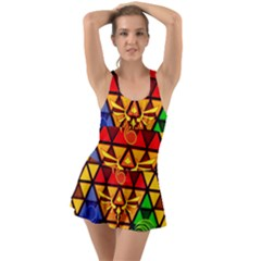 The Triforce Stained Glass Ruffle Top Dress Swimsuit