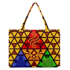 The Triforce Stained Glass Zipper Medium Tote Bag