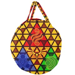 The Triforce Stained Glass Giant Round Zipper Tote