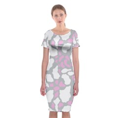 Pink Grey White Cow Print Classic Short Sleeve Midi Dress