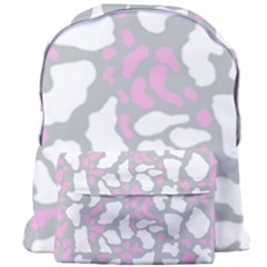 Pink Grey White Cow Print Giant Full Print Backpack by LoolyElzayat