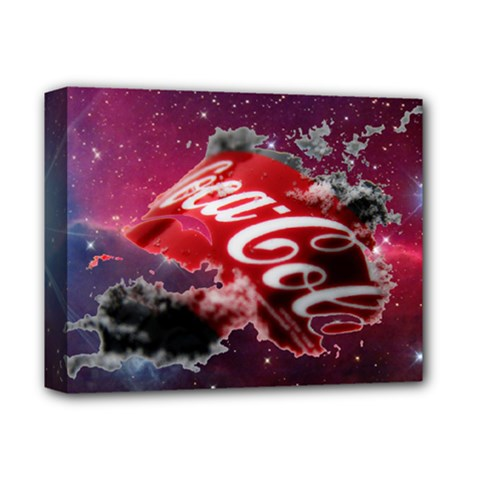 Coca Cola Drinks Logo On Galaxy Nebula Deluxe Canvas 14  X 11  by Samandel