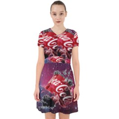 Coca Cola Drinks Logo On Galaxy Nebula Adorable In Chiffon Dress