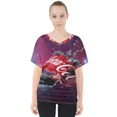 Coca Cola Drinks Logo On Galaxy Nebula V Neck Dolman Drape Top