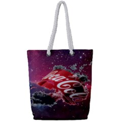 Coca Cola Drinks Logo On Galaxy Nebula Full Print Rope Handle Tote (small) by Samandel