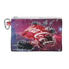 Coca Cola Drinks Logo On Galaxy Nebula Canvas Cosmetic Bag (large) by Samandel