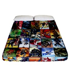 Comic Book Images Fitted Sheet (queen Size)