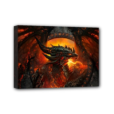Dragon Legend Art Fire Digital Fantasy Mini Canvas 7  X 5