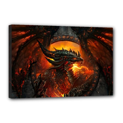Dragon Legend Art Fire Digital Fantasy Canvas 18  X 12