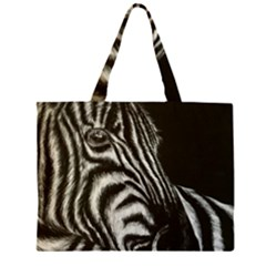 Zebra Zipper Large Tote Bag by ArtByThree