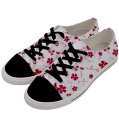 Sweet Shiny Floral Red Men s Low Top Canvas Sneakers by ImpressiveMoments