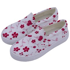 Sweet Shiny Floral Red Kids  Canvas Slip Ons by ImpressiveMoments