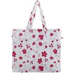 Sweet Shiny Floral Red Canvas Travel Bag by ImpressiveMoments