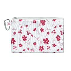 Sweet Shiny Floral Red Canvas Cosmetic Bag (large) by ImpressiveMoments