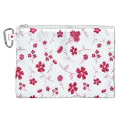 Sweet Shiny Floral Red Canvas Cosmetic Bag (xl) by ImpressiveMoments