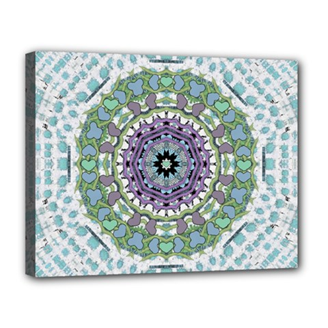 Hearts In A Decorative Star Flower Mandala Canvas 14  X 11  by pepitasart