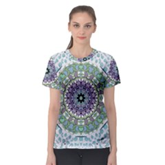 Hearts In A Decorative Star Flower Mandala Women s Sport Mesh Tee