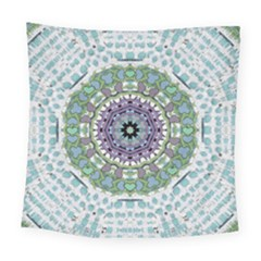 Hearts In A Decorative Star Flower Mandala Square Tapestry (large) by pepitasart